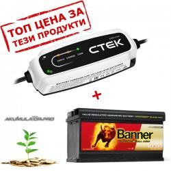 Акумулатор AGM BANNER  92Ah 850A + зарядно CTEK CT5 START STOP 12V 3.8A