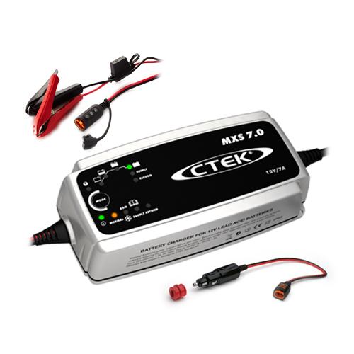Зарядно CTEK MXS7.0 12V / 7.0A + Щипки с индикатор + конектор запалка