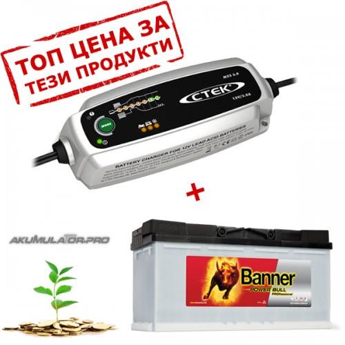 Зарядно CTEK MXS 3.8 3.8A 12V с акумулатор BANNER 100Ah 820А R+