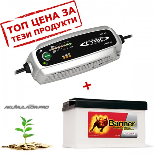 Зарядно CTEK MXS 3.8 3.8A 12V с акумулатор BANNER 84Ah 720А R+