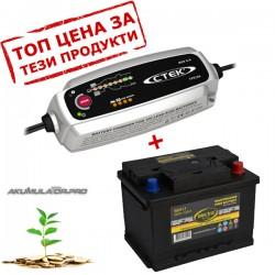 Зарядно CTEK MXS 5.0 5A 12V с aкумулатор  ELECTRA 56Ah 480A R+