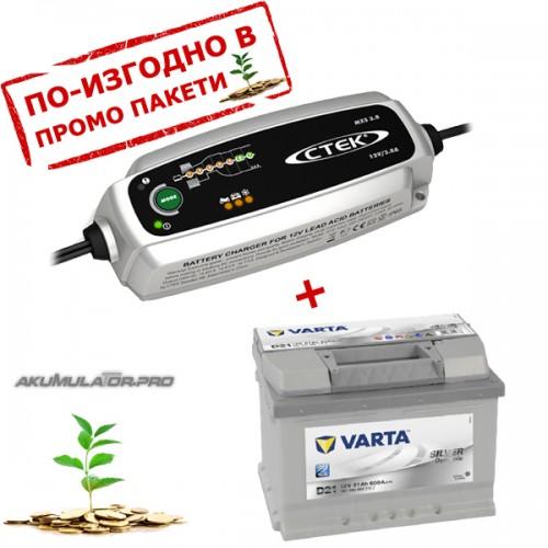 Зарядно CTEK MXS 3.8 3.8A 12V с акумулатор VARTA Sylver Dynamic 61Ah 600A 175mm R+