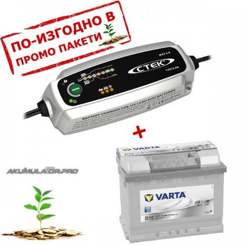 Зарядно CTEK MXS 3.8 3.8A 12V с акумулатор VARTA Sylver Dynamic 63Ah 610A 190mm R+