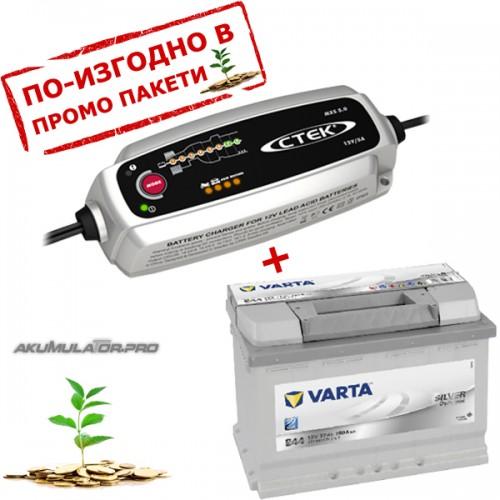 Зарядно CTEK MXS 5.0 5A 12V с акумулатор VARTA Sylver Dynamic 77Ah 780A 190mm R+